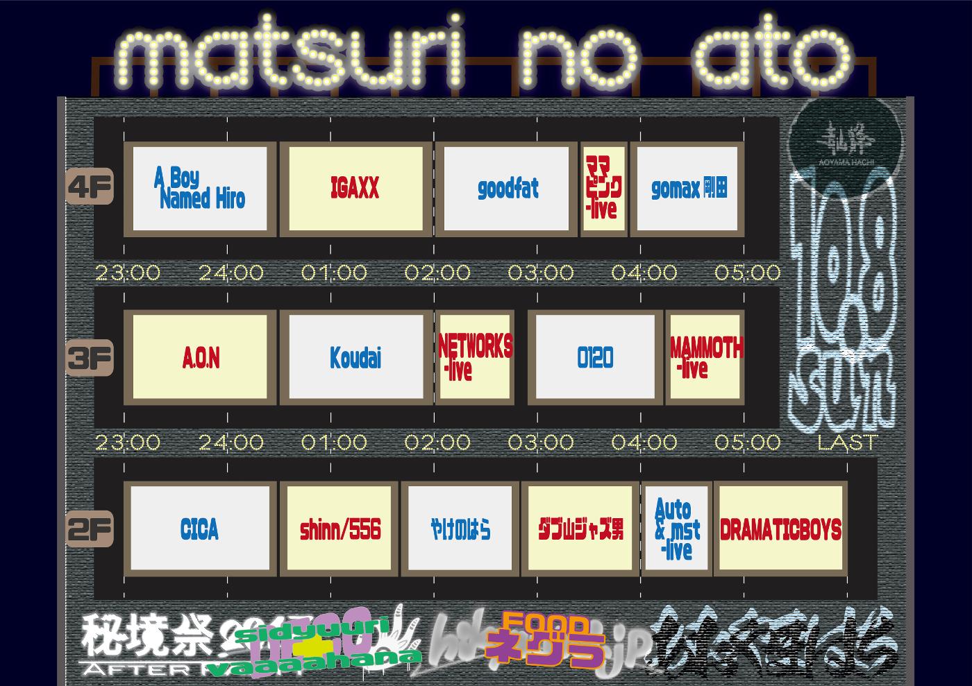"""秘境祭 presents""""MATSURI NO ATO""""タイムテーブル"""